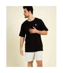 pijama masculino plus size estampa quadriculada manga curta