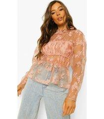 bloemenprint organza blouse, blush