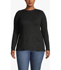 lane bryant women's pointelle knit boat neck sweater 22/24 black