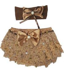kit 1 conjunto de calcinha cetim e tiara ellie comfort dourada