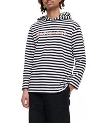marimekko palho tasaraita stripe hooded top, size x-large - white