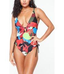bar iii side-tie monokini swimsuit, created for macy's women's swimsuit