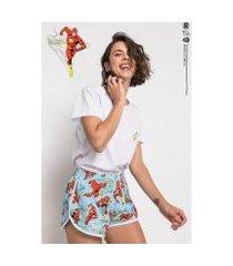 pijama acuo the flash curto de meia malha de algodão feminino
