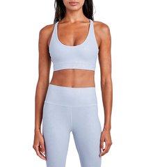 sage collective women's python-print ray-back sports bra - blue grey - size xs