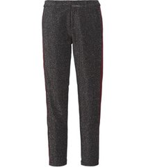 broek maison scotch tapered lurex pants with velvet side panel