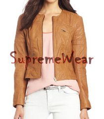 new handmade women simple classic collar less leather jacket, women leather jack