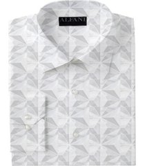 alfani men's classic/regular-fit performance stretch marble geo-print dress shirt, created for macy's