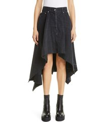 women's sacai raw edge asymmetrical denim skirt, size 2 - black