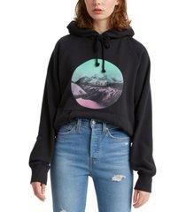 levi's fleece graphic print hoodie