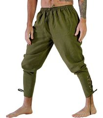cintura elástica con cordón plisado de color sólido para hombre con cordones casual largo pantalones