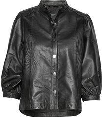 slfmilla leather shirt b leren jack leren jas zwart selected femme