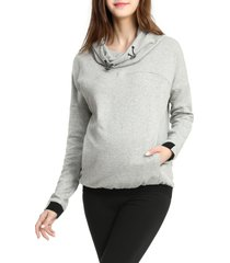 women's kimi and kai samara cowl neck maternity/nursing hoodie, size large - grey