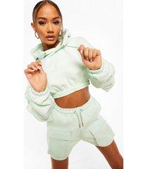 official korte hoodie met utility zakken, pastel blue