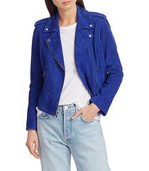 asymmetrical full-zip suede jacket