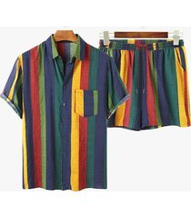incerun traje casual de dos piezas multicolor a rayas para hombre