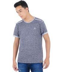 t-shirt con corte en delantero negro jaspe s bocared misuri 1803005