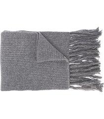 ami paris ribbed scarf ami de coeur patch - grey