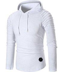 pleated raglan sleeve solid color hoodie