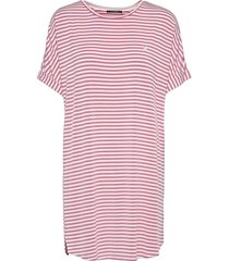 softness stripe big shirt kort klänning rosa missya