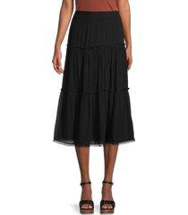 max studio women's tiered crinkle skirt - black - size l