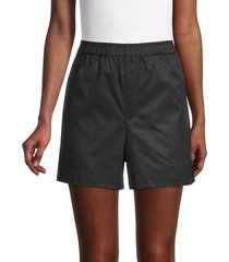 helmut lang women's resin-finish cotton shorts - ink - size xs