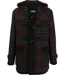 gloverall plaid hooded coat - black