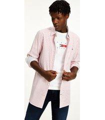 tommy hilfiger men's slim fit stripe seersucker shirt primary red / white - xxl