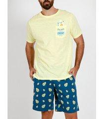 pyjama's / nachthemden admas for men pyjama kort t-shirt aguacates geel admas
