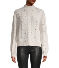 rd style women's pom-pom cable-knit sweater - oatmeal - size s