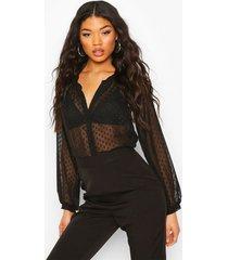 dobby mesh button down shirt, black