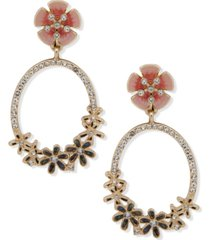 anne klein gold-tone crystal & stone flower clip-on statement earrings