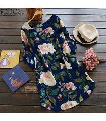 zanzea flor mujer o cuello botones de manga larga ajustables mini vestido floral azul marino -azul