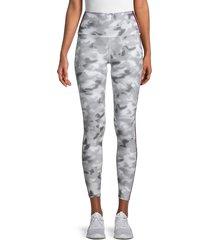 wear it to heart women's striped & camo print cropped leggings - smoke blur - size xl