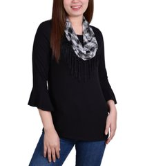ny collection petite bell-sleeve detachable scarf top