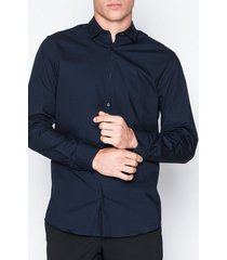 selected homme slhslimpreston-clean shirt ls b noo t-shirts & linnen mörk blå