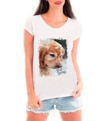 camiseta criativa urbana feminina tshirt cachorro na neve - feminino