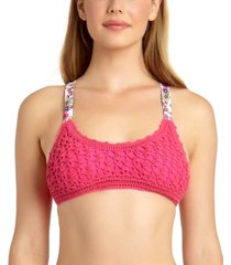 california waves juniors' crochet bralette bikini top, created for macy's women's swimsuit
