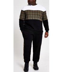 river island mens big and tall check block slim fit sweatshirt