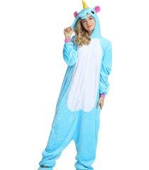 pijama rioutlet macacão unicórnio azul