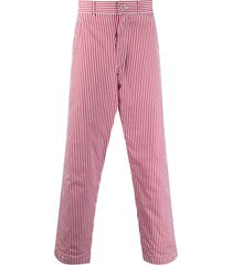 comme des garçons shirt pinstriped button-tab straight-leg trousers -