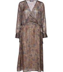 chita peacock dress jurk knielengte bruin mos mosh