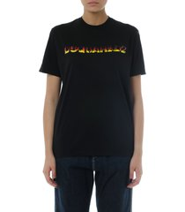 dsquared2 black cotton logo print t-shirt