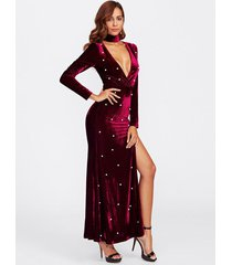 v neck velvet maxi dress high slit plunging tie long sleeve deep v christmas new