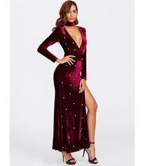 v neck velvet maxi dress high slit plunging tie long sleeve deep v christmas new