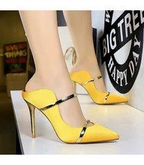 mujer taco zapatos sandalias de tacon fashion-cool-amarillo