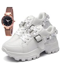 tênis sapatênis fashion com relógio gold feminino dubuy 699el branco