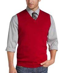 joseph abboud men's red v-neck modern fit sweater vest - size: small
