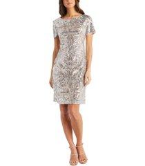 r & m richards embellished sequinned sheath dress