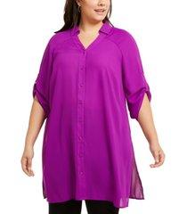alfani plus size roll-tab tunic shirt, created for macy's