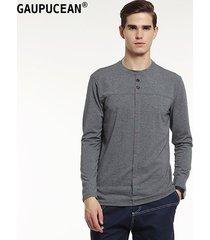 camiseta manga larga cuello redondo casual gaupucean para hombre-gris